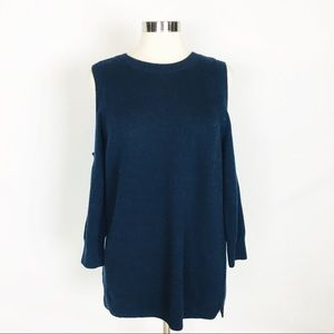 ANN TAYLOR | Navy Cold Shoulder Sweater Top NWT